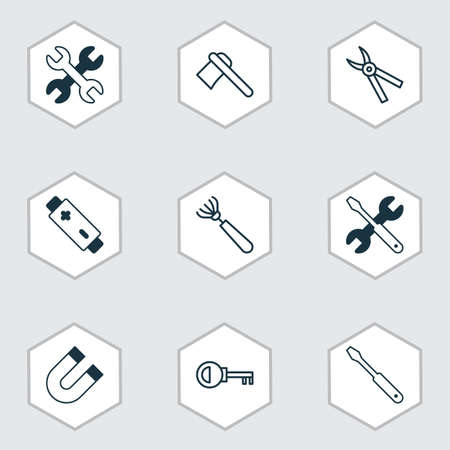 Equipment icons set with magnet, ax, repair tools and other pliers  elements. Isolated vector illustration equipment icons. Çizim
