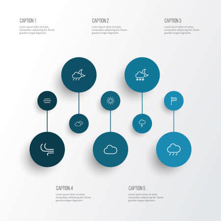 Air icons line style set with cloudy sky, sunshine, blizzard and other wind elements. Isolated vector illustration air icons.