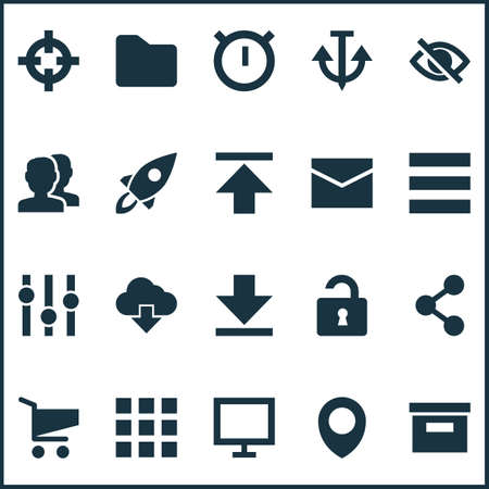 User icons set with hide, unlock, stabilizer and other map pin elements. Isolated vector illustration user icons.