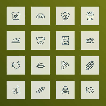 Eating icons line style set with waffle, wine, birthday cake and other crisp elements. Isolated vector illustration eating icons.