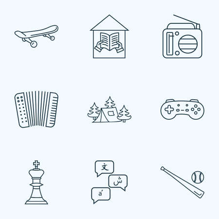 Entertainment icons line style set with baseball, radio, camping tent and other extreme board elements. Isolated vector illustration entertainment icons.
