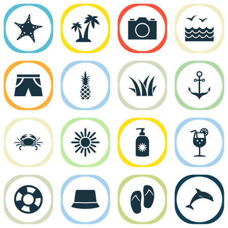 Season icons set with sea, crab, flip flop and other video   elements. Isolated vector illustration season icons.