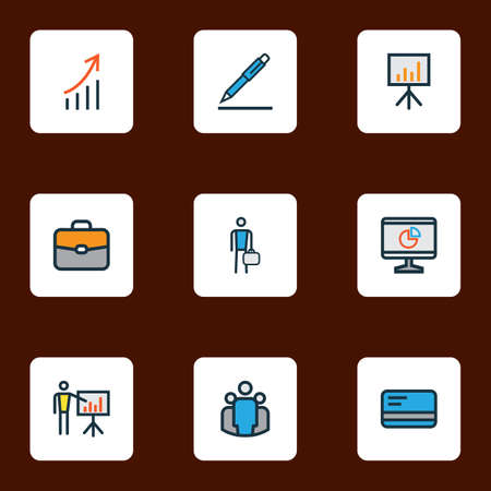 Job icons colored line set with pen, computer analytics, debit card and other worker