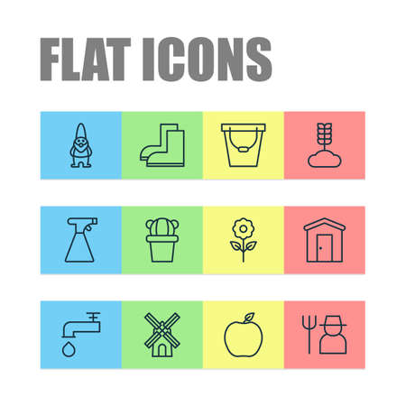 Garden icons set with windmill, barn, sprayer and other spigot  elements. Isolated vector illustration garden icons.