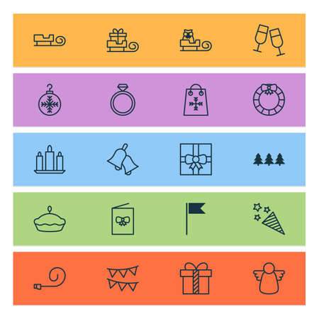 Happy icons set with christmas angel, bells, christmas ball and other garland   elements. Isolated vector illustration happy icons. Illustration