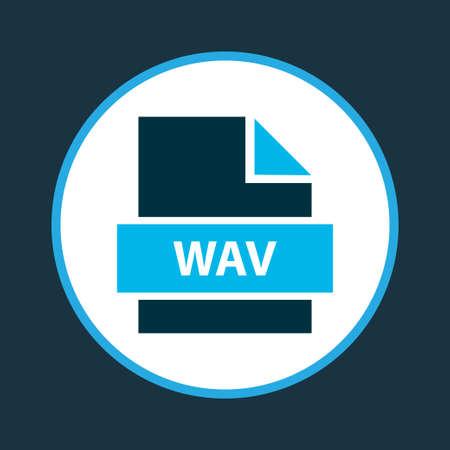 Símbolo de color de icono de archivo wav. Elemento de formato de audio aislado de calidad premium en estilo moderno.