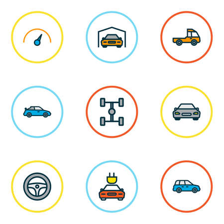 Car icons colored line set with garage, wheelbase, steering wheel and other sedan   elements. Isolated vector illustration car icons.
