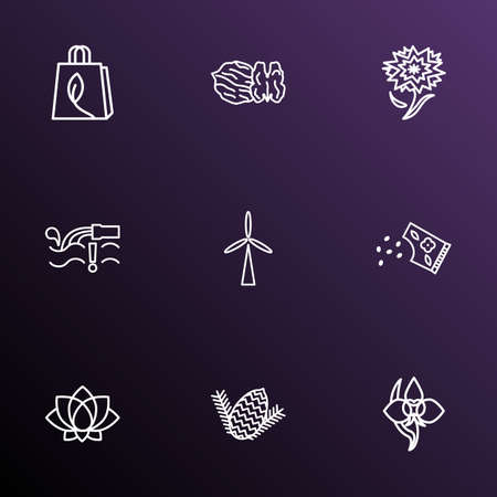 Harmony icons line style set with wind turbine, walnut, flower seed and other water lily
