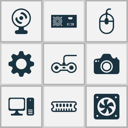 Icone hardware impostate con ingranaggi, ventola della CPU, alimentatore e altri elementi del generatore di potenza. Icone dell'hardware illustrazione vettoriale isolato.