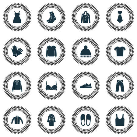 Garment icons set with slipper, shirt, pullover and other casual   elements. Isolated vector illustration garment icons.