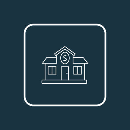 Bank icon line symbol. Premium quality isolated building element in trendy style.