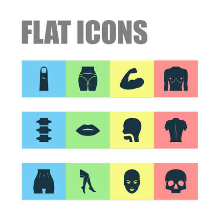 Physique icons set with leg, arm, spine and other head elements. Isolated illustration physique icons. Illustration