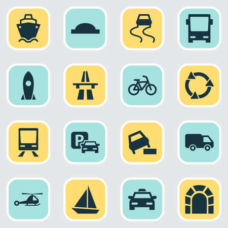 Transportation icons set with bus, taxi, van and other bicycle
