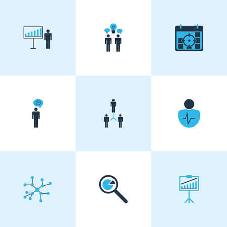 Board icons colored set with time management, business target, personality traits and other group