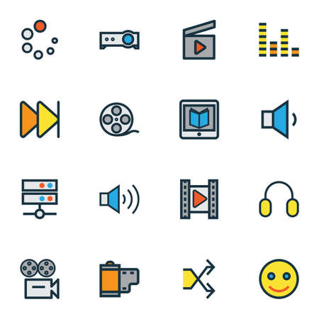 Multimedia icons colored line set with megaphone, film reel, headphone and other video elements. Isolated vector illustration multimedia icons. Vector Illustration
