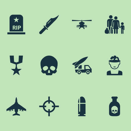 Warfare icons set with helicopter, soldier, sniper and other ordnance  elements. Isolated illustration warfare icons. Banque d'images - 113617171