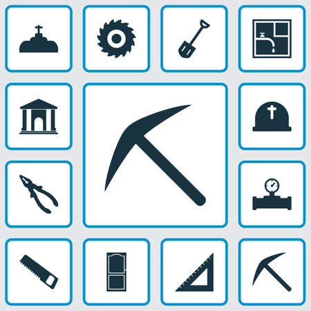 Construction icons set with shovel, cemetery, pliers and other sawmill  elements. Isolated vector illustration construction icons. Banco de Imagens