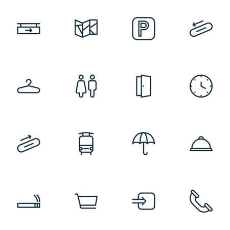 Direction icons line style set with steps up, parking sign, hanging board and other tram  elements. Isolated illustration direction icons. Banco de Imagens