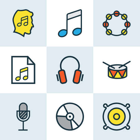 Music icons colored line set with headphone, speaker, drum and other list  elements. Isolated vector illustration music icons. Illustration