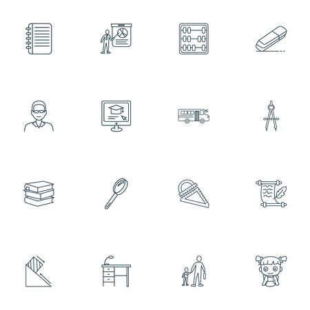 School icons line style set with abak, books, notepad and other training  elements. Isolated vector illustration school icons.