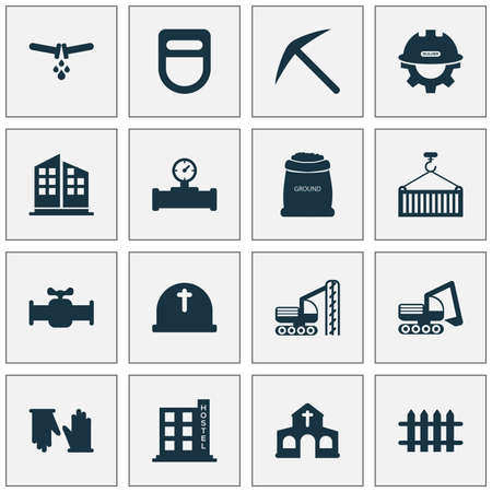 Construction icons set with church, bulldozer, sack with earth and other ground  elements. Isolated vector illustration construction icons. 向量圖像