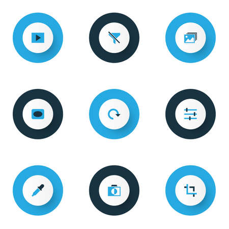Photo icons colored set with monochrome, capture, filtration and other no filter elements. Isolated  illustration photo icons.