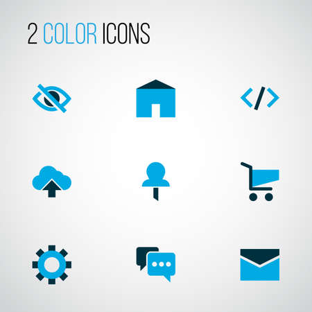User icons colored set with setting, comment, home and other cart elements. Isolated illustration user icons.