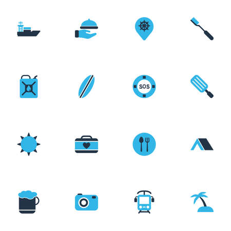 Trip icons colored set with surfboard, waiter, camera and other vessel elements. Isolated  illustration trip icons.