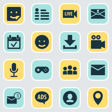 Internet icons set with game, profile, advert and other personal data elements. Isolated illustration internet icons.