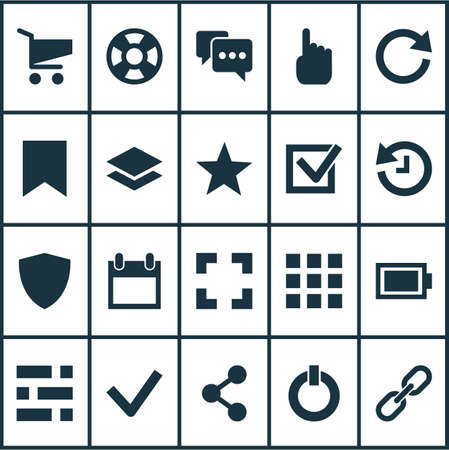 Interface icons set with battery, share, checkmark and other screenshot elements. Isolated  illustration interface icons. 스톡 콘텐츠