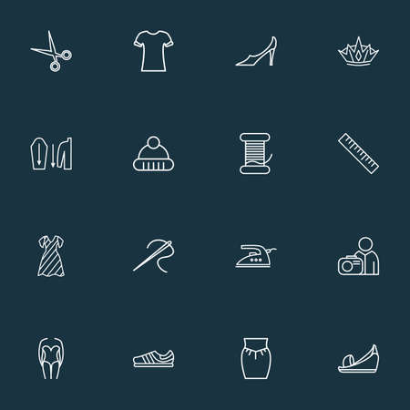 Style icons line style set with crown, trainer shoes, high bias roll and other shirt design elements. Isolated vector illustration style icons. 스톡 콘텐츠