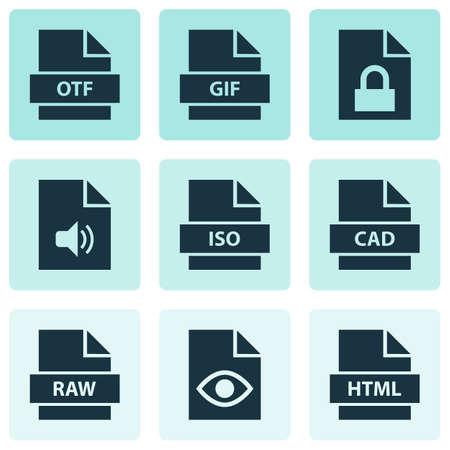 File icons set with locked, audio, otf and other folio elements. Isolated illustration file icons.