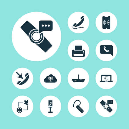 Communication icons set with cloud access point, incoming call, printer and other print machine  elements. Isolated vector illustration communication icons.  イラスト・ベクター素材