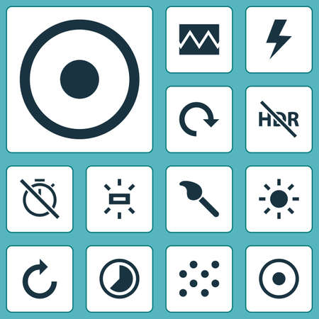 Image icons set with brightness, timelapse, high dynamic range and other photo