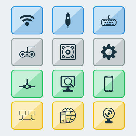 Hardware icons set with gamepad, global connection, keyboard and other connected devices elements. Isolated vector illustration hardware icons.