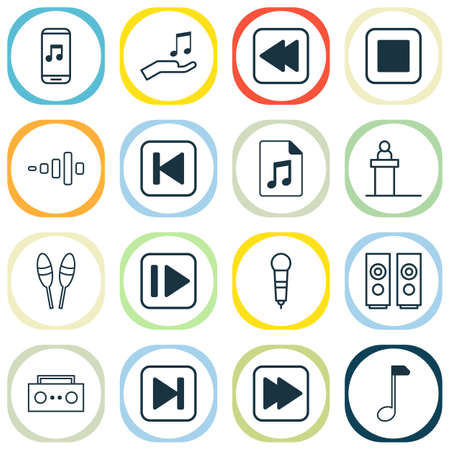 Audio icons set with backward music, mike, note and other clef elements. Isolated illustration audio icons.