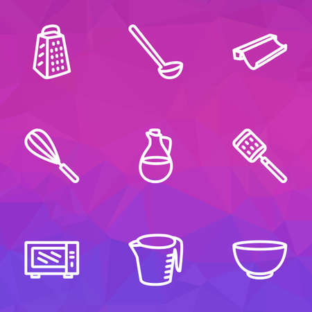Dishware icons line style set with ladle, microwave, baking paper and other grater elements. Isolated vector illustration dishware icons.