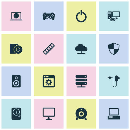 Digital icons set with ram, application, disc and other web elements. Isolated illustration digital icons.
