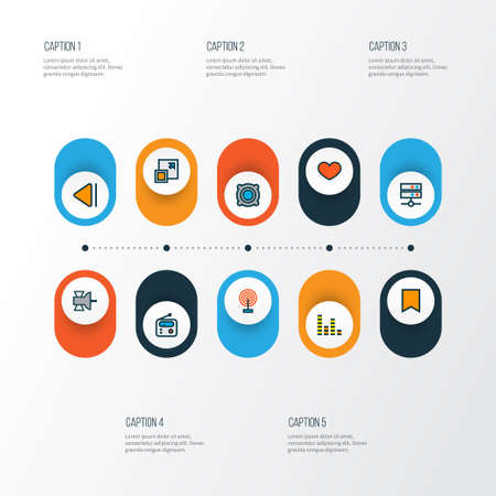 Multimedia icons colored line set with broadcast, enlarge, speaker and other heart