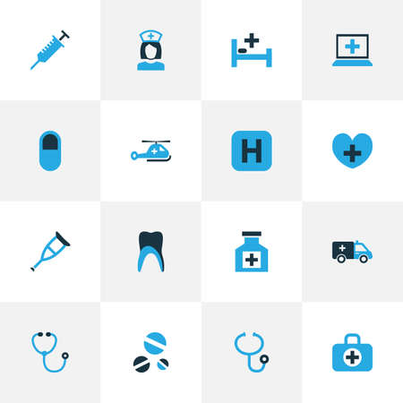 Antibiotic icons colored set with claw, nurse, crutch and other listener elements. Isolated vector illustration antibiotic icons. Ilustração