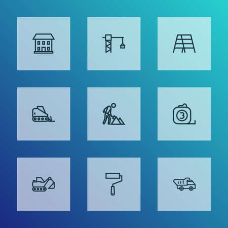 Industry icons line style set with stair, home, lifting hook and other tipper  elements. Isolated vector illustration industry icons.