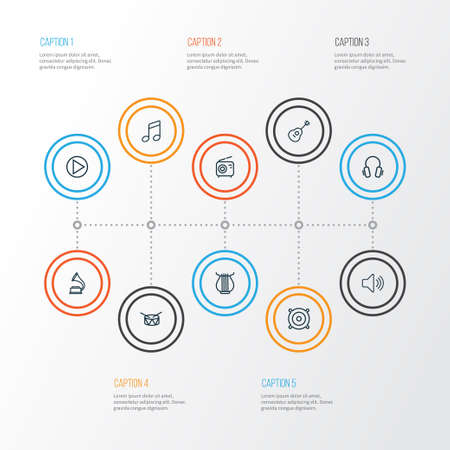 Music icons line style set with gramophone, harp, guitar and other strings  elements. Isolated vector illustration music icons.