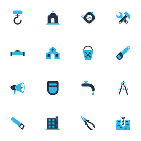 Industry icons colored set with horn, water crane, temple and other welder mask elements. Isolated vector illustration industry icons.