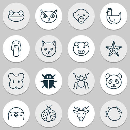 Zoo icons set with sea star, globefish, monkey and other piglet elements. Isolated vector illustration zoo icons. Illustration