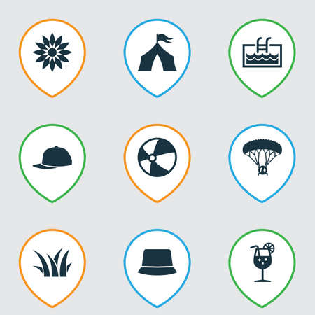 Season icons set with tent, pool, flower and other skydiving elements. Isolated illustration season icons.