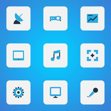 Iconos multimedia coloreados con configuración, pantalla, música y otros elementos del gráfico. Iconos multimedia de ilustración aislada. Foto de archivo