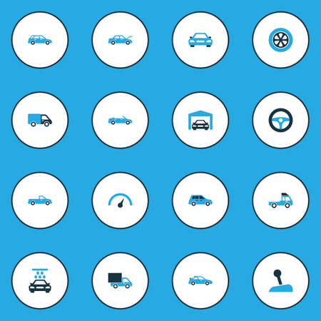 Auto icons colored set with truck, convertible model, crossover and other lorry elements. Isolated vector illustration auto icons.