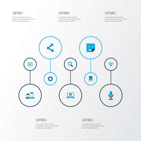 Media icons colored set with video chat, publish, mates and other share  elements. Isolated vector illustration media icons.