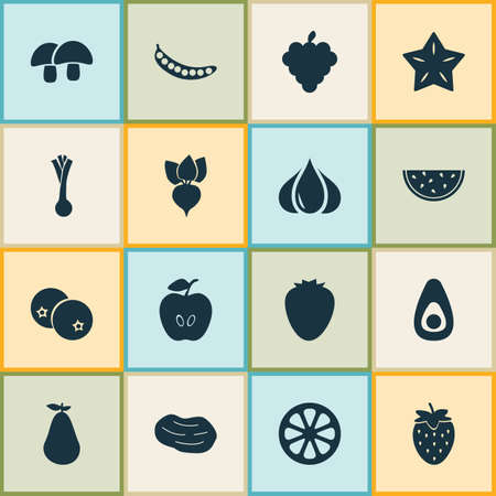 Food icons set with strawberries, blueberry, potato and other legume elements. Isolated vector illustration food icons.