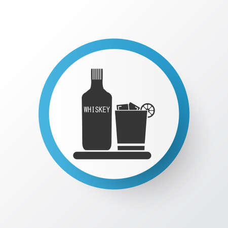 Whiskey icon symbol. Premium quality isolated whiskey with ice element in trendy style. Stock Photo